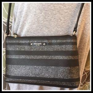 Kate Spade Black Glitter Stripe Ramey Haven Ln NWT
